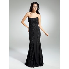 Trumpet/Mermaid Strapless Floor-Length Chiffon Prom Dress With Beading Appliques Lace