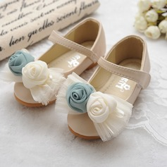 Girl's Leatherette Flat Heel Round Toe Mary Jane Flats With Bowknot Satin Flower Velcro