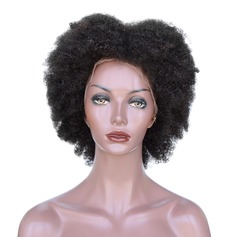 4A Non remy Kinky Curly Human Hair Full Lace Cap Wigs