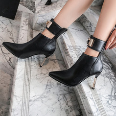 Women's Leatherette Stiletto Heel Ankle Boots With Rhinestone Buckle Animal Print Zipper shoes
