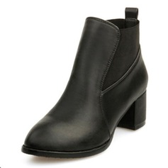 Women's Leatherette Chunky Heel Pumps Closed Toe Wedges Boots Ankle Boots shoes