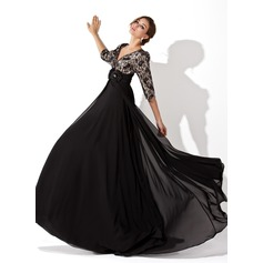 A-Line/Princess V-neck Sweep Train Chiffon Lace Evening Dress With Ruffle Beading Flower(s)