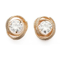 Pretty Alloy/Zircon Ladies' Earrings