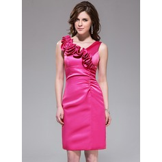 Sheath/Column V-neck Knee-Length Satin Bridesmaid Dress With Flower(s)