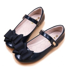 Girl's Round Toe Closed Toe Patent Leather Flat Heel Sandals Flats Flower Girl Shoes With Bowknot Velcro
