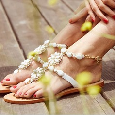 Women's Leatherette Flat Heel Sandals Beach Wedding Shoes With Imitation Pearl Rhinestone