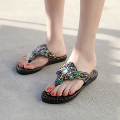 Women's Leatherette Low Heel Sandals Wedges Peep Toe With Rhinestone Beading shoes