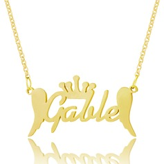 Custom 18k Gold Plated Silver Name Necklace With Crown Angeles - Birthday Gifts Mother's Day Gifts
