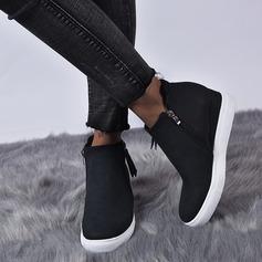 Femmes Similicuir Talon plat Chaussures plates avec Zip chaussures