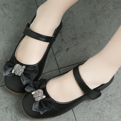 Girl Closed Toe Flats Leatherette Flats Flower Girl Shoes With Bowknot