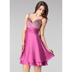 Empire Sweetheart Short/Mini Satin Chiffon Homecoming Dress With Beading Sequins