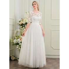 A-Line/Princess Scoop Neck Floor-Length Tulle Wedding Dress