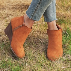 Women's Suede Wedge Heel Boots shoes