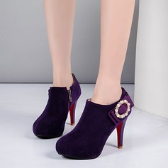 Women's Leatherette Cone Heel Ankle Boots With Buckle Zipper Others shoes