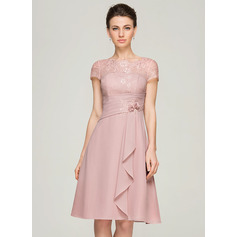 A-Line Scoop Neck Knee-Length Chiffon Lace Mother of the Bride Dress With Beading Flower(s) Sequins Cascading Ruffles