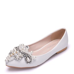 Women's Leatherette Flat Heel Closed Toe Flats With Imitation Pearl Rhinestone