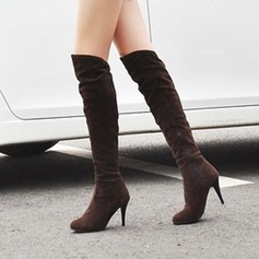 Women's Suede Stiletto Heel Knee High Boots shoes