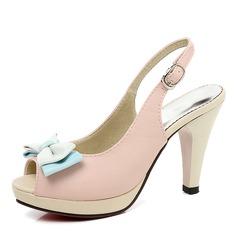 Frauen PU Stöckel Absatz Sandalen Absatzschuhe Plateauschuh Peep Toe Slingpumps mit Bowknot Schuhe