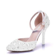 Women's Leatherette Stiletto Heel Closed Toe Pumps With Rhinestone