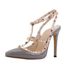 Women's Patent Leather Stiletto Heel Pumps Closed Toe With Rivet shoes