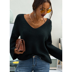 Ribbed Solid Polyester V-neck Pullovers Sweaters (1002223204)