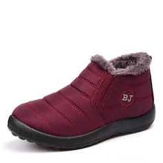 Women's Fabric Flat Heel Closed Toe Snow Boots With Fur shoes