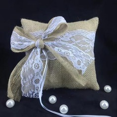 Square Ring Pillow in Linen
