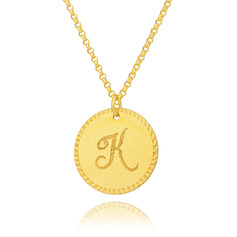 Custom 18k Gold Plated Silver Engraving/Engraved Letter Circle Initial Necklace Circle Necklace - Birthday Gifts Mother's Day Gifts