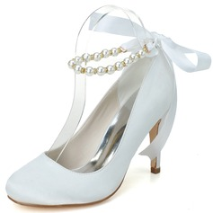 Women's Satin Stiletto Heel Closed Toe Pumps With Beading Bowknot