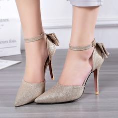 Women's Leatherette Stiletto Heel Sandals With Bowknot Sparkling Glitter Buckle shoes (085114612)