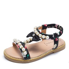 Girl's Peep Toe Slingback Leatherette Flat Heel Sandals Flats Flower Girl Shoes With Bowknot Velcro Crystal Pearl
