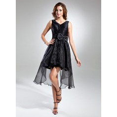 A-Line/Princess V-neck Asymmetrical Organza Cocktail Dress With Ruffle Bow(s)