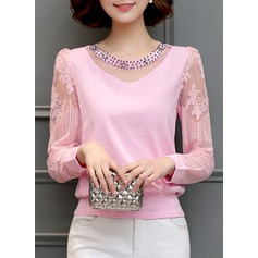 Plain Long Sleeves Cotton Blends Round Neck Casual Blouses Blouses (1003160337)