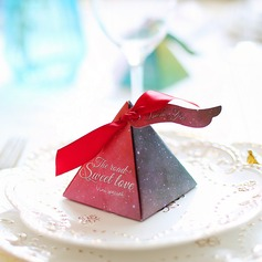 Forever Love Cubic Card Paper Favor Boxes With Ribbons