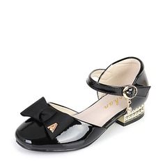 Jentas Round Toe Lukket Tå Leather lav Heel Flower Girl Shoes med Bowknot Spenne Velcro