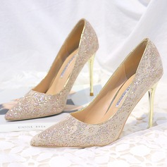 Women's Microfiber Leather Stiletto Heel Closed Toe Pumps With Sparkling Glitter Stitching Lace