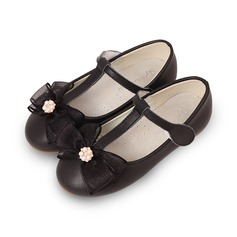 Girl's Real Leather Flat Heel Round Toe Closed Toe Flats With Bowknot Velcro Flower