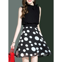 With Bowknot/Stitching/Print Above Knee Dress (199138009)