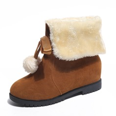 Women's Suede Low Heel Closed Toe Boots Mid-Calf Boots With Bowknot shoes