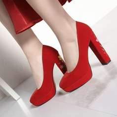 Women's Suede Chunky Heel Pumps Platform shoes