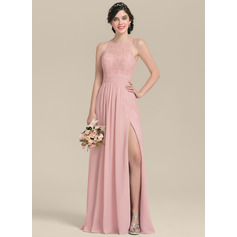 A-Line Scoop Neck Floor-Length Chiffon Lace Bridesmaid Dress With Ruffle Split Front (266253093)