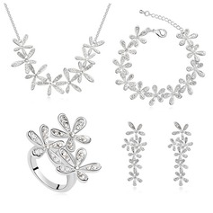 Flower Shaped Platinum Plated/Champaign Gold Plated With Crystal Jewelry Sets