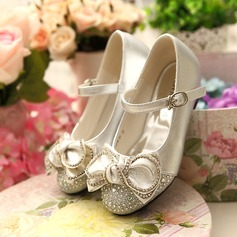 Girl's Closed Toe Leatherette Low Heel Flower Girl Shoes With Bowknot Buckle