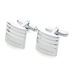 Personalized Stainless Steel Cufflinks With Diamond Rhinestone