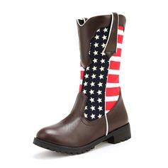 Femmes Similicuir Talon bottier Bottes Bottes mi-mollets avec Boucle chaussures