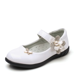 Girl's Closed Toe Leatherette Flat Heel Flower Girl Shoes With Bowknot Imitation Pearl Rhinestone Velcro