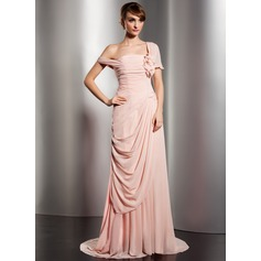 A-Line/Princess Off-the-Shoulder Watteau Train Chiffon Evening Dress With Ruffle Flower(s)