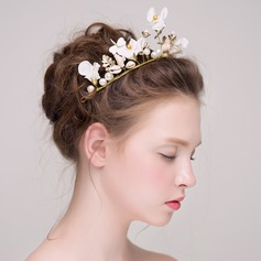 Lovely Imitation Pearls/Silk Flower/Plastic/Gold Plated Headbands