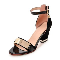 Women's Suede Chunky Heel Sandals Pumps Peep Toe With Buckle shoes (087168476)
