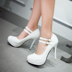 Women's Patent Leather Stiletto Heel Pumps Platform Closed Toe With Buckle shoes (085120659)